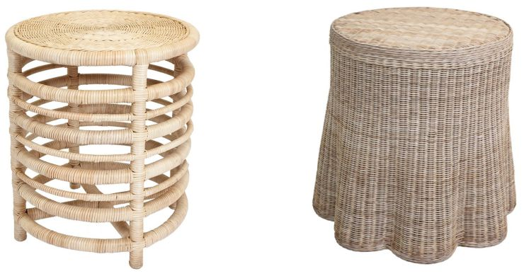 Round Wicker Side Tables
