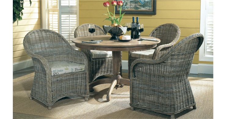 Terrace Wicker Dining Set with Wood Table