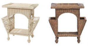 Wicker Side Tables with Pockets